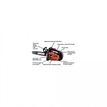 Echo CS-355T 35.8 CC Top Handle Chain Saw with Reduced Effort Starter d